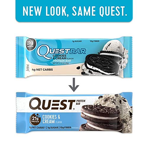 Quest Nutrition Protein Bar Chocolate Favorites (Cookies and Cream and Chocolate Chip Cookie Dough). Low Carb Meal Replacement Bar with Over 20g Protein. High Fiber, Soy-Free, Gluten-Free (24 Count) by Quest Nutrition (Image #7)