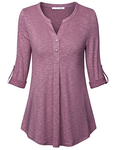 Lightweight Top for Women,Messic Tunic Blouses for Leggings for Women Swing Work Office Tops V Neck Button Tunic Shirts with Leggings Long Sleeve Pleated Knit Blouse for Women Fashion 2018 Wine Red,M