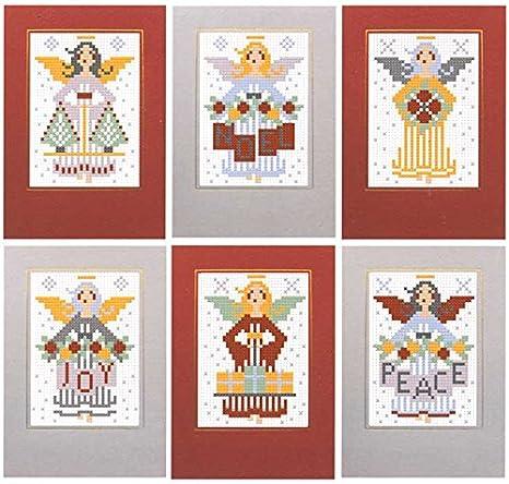Biglietti Di Natale A Punto Croce.6 Biglietti Di Natale A Punto Croce Angeli Amazon It Casa E Cucina