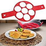 Perfect Placed''New and Improved Fantastic Fast & Easy Way to Make Perfect Pancakes Molds Silicone Baking Mold Cake Maker Egg Ring Dishwasher Safe 7 Circle (Red) 2017 New With free EBook