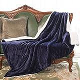 united states navy blanket - HoroM Sherpa Throw Blanket Navy Blue 60