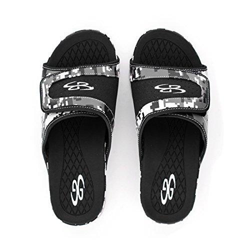 Boombah Mens Tyrant Digital Camo Slide Sandals - 11 Color Options - Multiple Sizes Black/Gray DHJL1