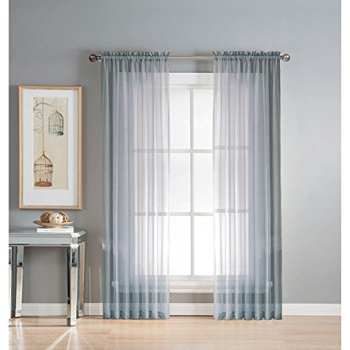 Window Elements Sheer Elegance Rod Pocket 108 x 84  in. Curtain Panel Pair, Light Blue (Window Covering Ideas)