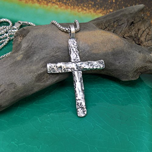 (Sterling Silver Tree Bark Cross Pendant, Hand Sculpted, Sterling Silver Cross, Item:)