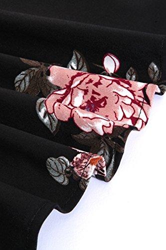 da donna mezza da lunga Peonia Vestito manica da B elegante vestito a da Nera manica partito vestito vestito donna da Stile cocktail cocktail YMING P0aqfw7w