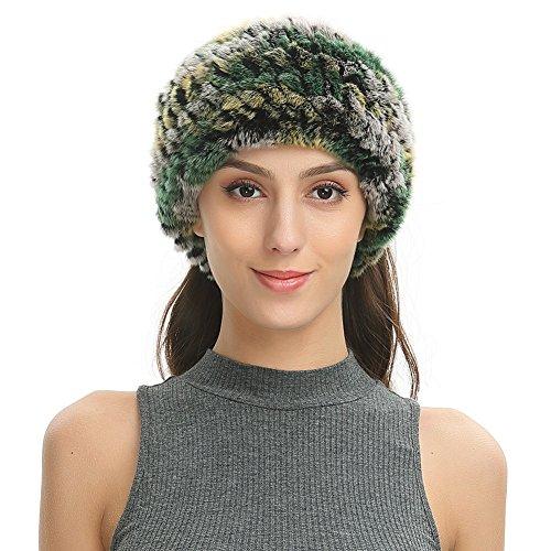Rex Rabbit Fur Headband - Ferand Women's Soft Real Rex Rabbit Fur Knitted Headband, Dual-use as Warm Snood Scarf for Winter