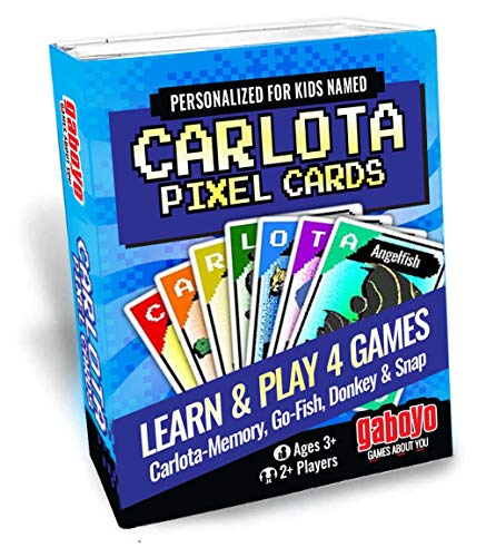 Cards for Kids Named Carlota. Pixel Animal Art, Memory, Go Fish, Donkey, and Snap