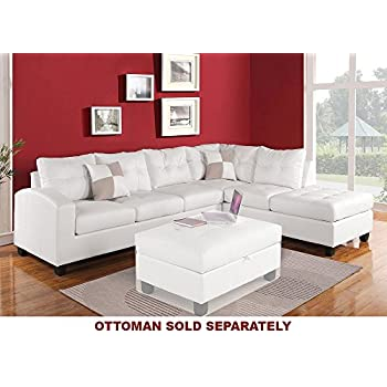 Amazoncom poundex 2 pieces faux leather sectional right for Poundex white faux leather modern sectional sofa
