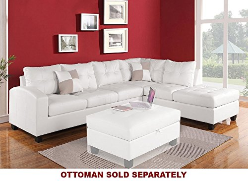 ACME Kiva White Bonded Leather Reversible Sectional Sofa with 2 Pillows Bonded Leather Sofas