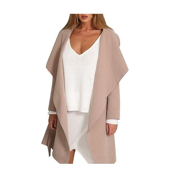 KaiCran Shrug Sweater Overcoat Women Warm Windbreaker Outwear Warm Slim Long Coat Jacket Trench (Khaki