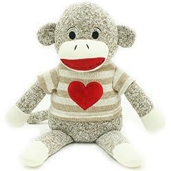 "Valentine 14"" Sock Monkey Plush Toy, Light Brown Stripe"