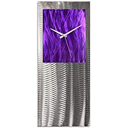 Metal Art Studio Purple Clock Original Wall Decor, Color Face