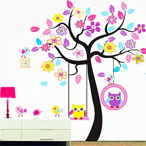 (Animal Jungle Tree Wall Decal Nursery Kids Wall Decor Owl Wall Decals Jungle Theme Wall Mural Vinyl Art Wall Stickers for Nursery Kids Room Decor (Owl Decor))