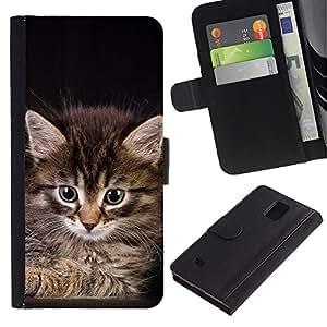 eJoy---La carpeta del tirón la caja de cuero de alta calidad de la PU Caso protector - Samsung Galaxy Note 4 IV - --Maine Coon Kitten American Longhair