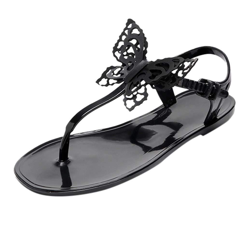 ZOMUSAR 2019 Slipper, Women Summer Butterfly Sandals Crystal Flat Bottom Toe Beach Slippers Shoes Black