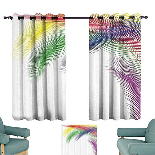 - Mannwarehouse Colorful Home Decor Thermal Curtains Digital Exotic Peacock Feathers in Contrast Color Style Glamour Graphic Art Suitable for Bedroom Living Room Study, etc.55 Wx72 L Multi