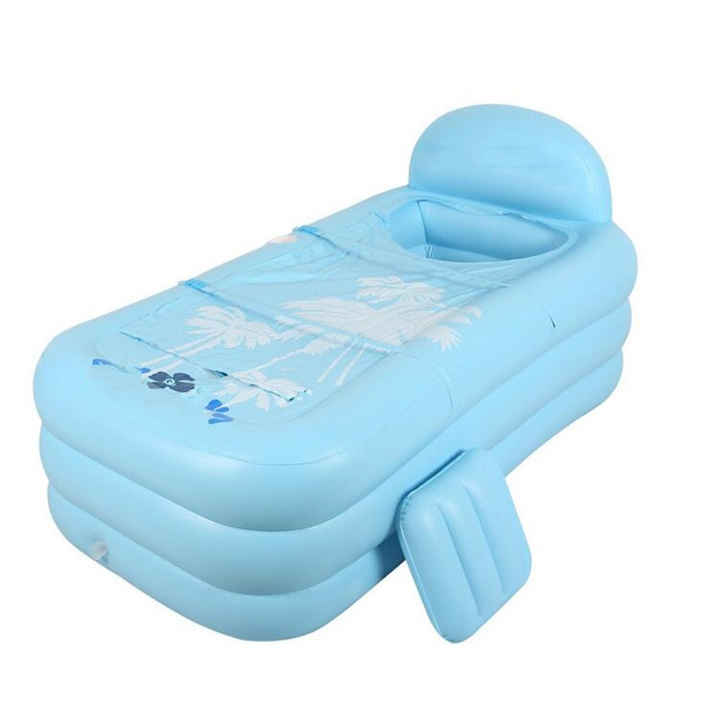 LQQGXL,Bath Inflatable bathtubs Eco-Friendly Warm-Ups Adult Kids Family Bathtubs Folding Bathtubs Inflatable bathtub ( Color : Blue )