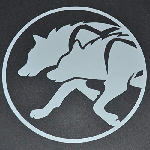 Vinyl Stickers Sled Dog Spirit Racing Huskies Husky in Rig Harness Silhouette Decal (Diameter 4 inches)