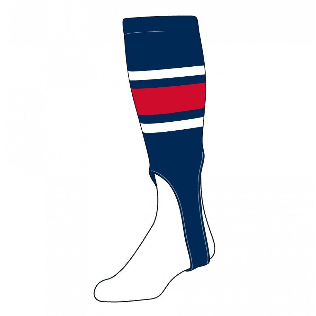 TCK Sports Striped 7 Baseball/Softball Stirrup Socks, Navy/White/Scarlet 300E1-153-7