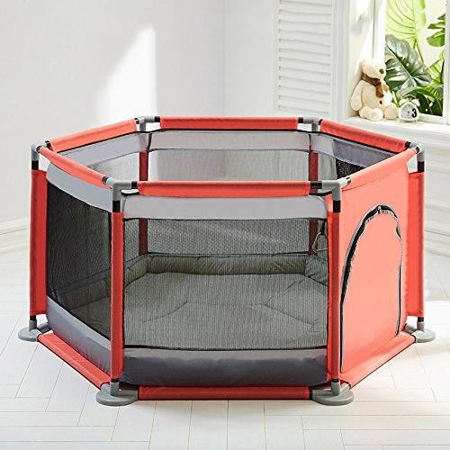Boys Girls Safety Playpen with Pad Portable Folded Toddlers Baby Activity Area Blue Fence 6 Panel Indoor Outdoor House