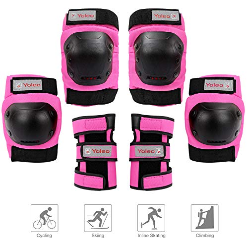 Yoleo Knee Pads Elbow Pads Wrist Guards for Kids/Youth/ Adults, 3 in 1 Protective Gear Set (Rose Red, Large)