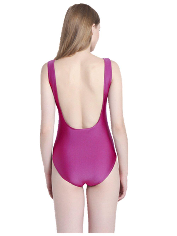 PINJIA Sexy Cute One Piece Swimsuit With High Cut and Low Back Monokini Bikini For Women(MX03) (XL, Purple Always On)