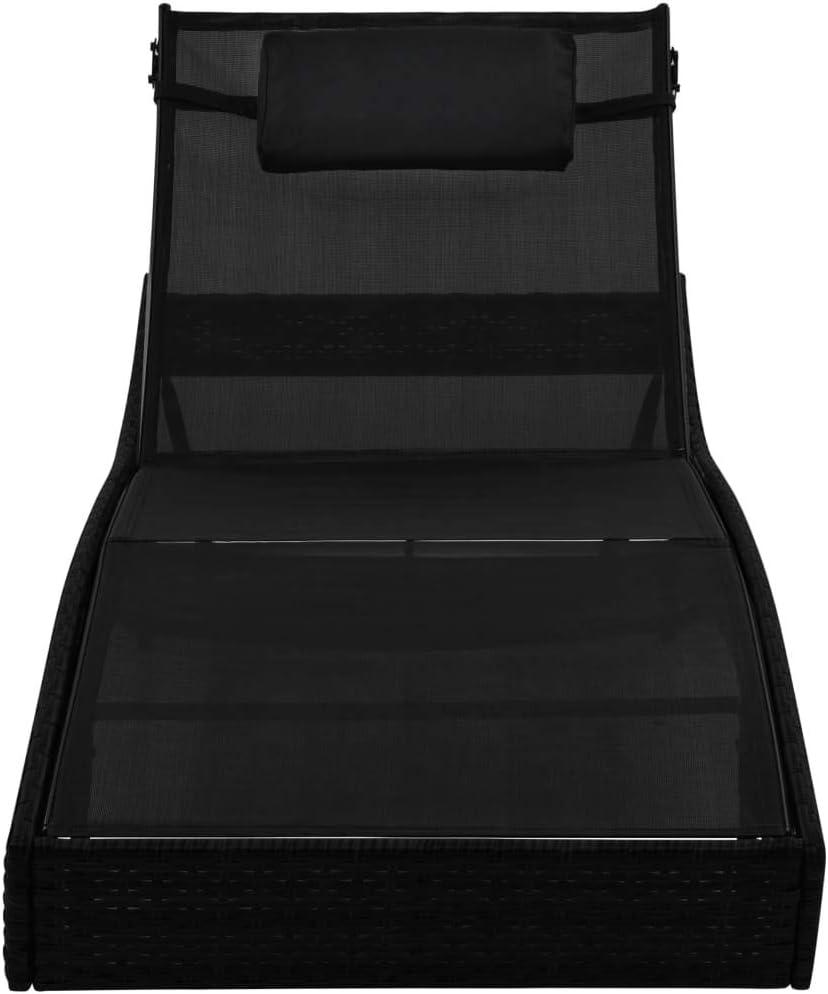 Festnight Chaise Longue de Jardin R/églable Bain de Soleil pour Patio ou Balcon en r/ésine tress/ée Noir 213 x 70 x cm 40-91,5