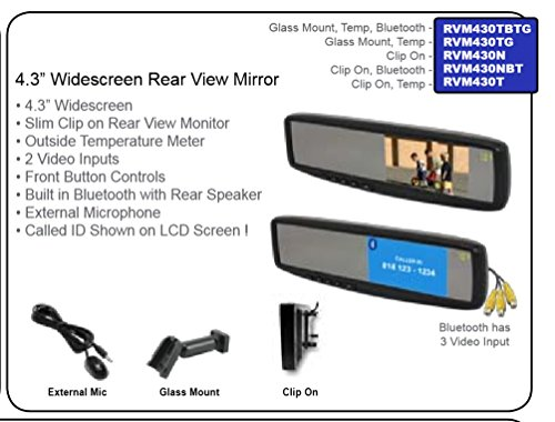 """Lessco Electronics Accele RVM430TBTG 4.3"""" Rear View Widescreen LCD Glass Mt Mirror w/Tempature Gage"""
