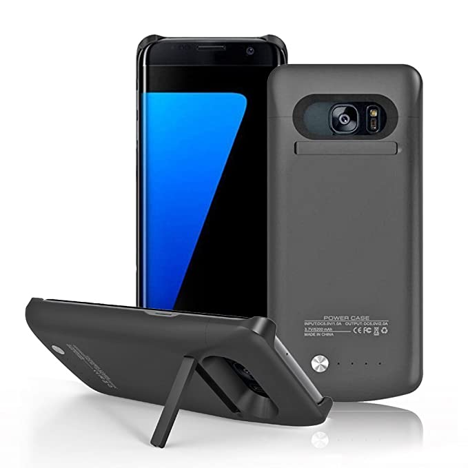 Image result for Samsung Galaxy S7 Battery Case, Galaxy S7 Battery Case, Portable 4200 Rechargeable External Battery Backup Charger Charging Case with Built in Stand for Samsung Galaxy S7 (Black)
