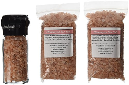 Gourmet Himalayan Sea Salt (Coarse Size) in a Glass Grinder with Two Coarse Salt Refill Packs by RESURRECTIONbeauty