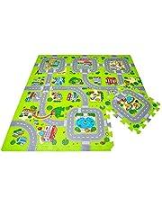 Hoogwaardige puzzelmat Speelstraat Speelmat met straat Als kruipmat om te ravotten, met een geweldig stratenpatroon als speelmat Nieuw Model 2020 TÜV getest