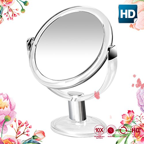 ary 1x & 10x Magnifying Double Sided Makeup Mirror,7 Inch Round Cosmetic Mirror for Bathroom or Bedroom Countertop,Portable Mirror with Stand,360° Rotation(transparent color) (Round Vanity Stand Mirror)