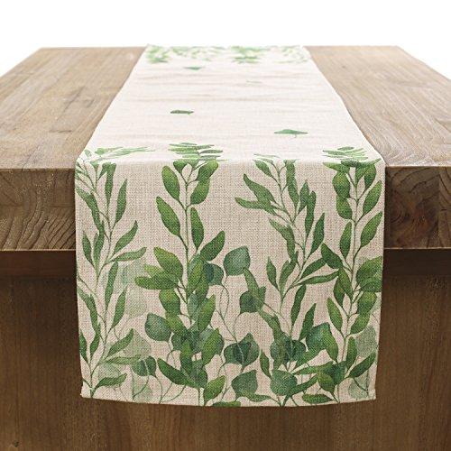 ling's moment Classic Durable White Linen Burlap Table Runner Green Vine Leaves Design Digital Printing Craft 12x72 inch Machine Washable Spring Table Runner
