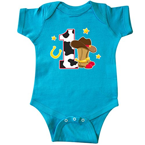 inktastic Cowboy Birthday One Year Old with Infant Creeper 24 Months Turquoise - Old West Cowboy Clothing