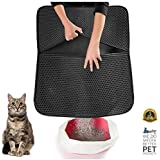 WePet The Original 2-Layer Cat Litter Mat 30 x 25 Premium Kitty Box Trapping Sifting Mats Waterproof Urine Repellent Activity Play Scratching Nap Design to Keep Floor Clean Best for Grumpy Cat