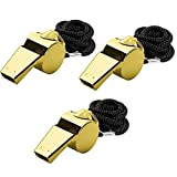 gold coach whistle - Giveet Metal Whistle with Lanyard, Stainless Steel and Durable, Extra loud Referee Coach Whistles for Football, Basketball, Soccer, School, Lifeguard Emergency, Pack of 3 PCS(Gold)