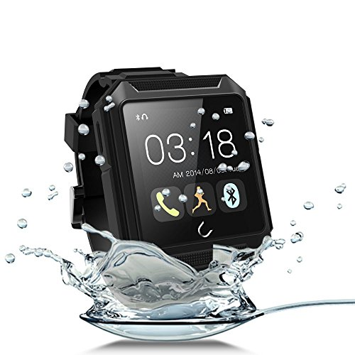 "Efanr 2015 Intelligent Sports Outdoor U Watch IP68 Waterproof Shockproof Dustproof Bluetooth 4.0 Watch Sport Smartwatch 1.6"" Touch Screen Wristwatch for IOS Apple iPhone 6 Plus 5s/5c/5/4s Android Samsung S6 S5 S4 Note 4/3 Sony Xperia Z3/Z2,HTC ONE M8 and Other Android Smartphones -Call Sync/Alarm Clock/Stopwatch/Sleep Monitor/Podemeter/Anti-lost/E-compass/MSM Sync (Black)"