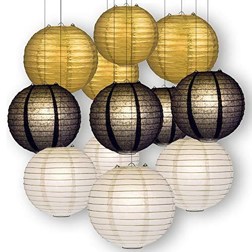 Quasimoon Paperlanternstore.com Black, White and Gold Celebration Party Pack Parallel Ribbed Paper Lantern Combo Set (12 pc Set)]()