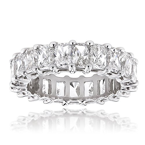 Ladies Platinum Radiant Cut Diamonds Eternity Band Diamond Anniversary Ring 6.6ctw G-H color (Size 5.5) Radiant Cut Diamond Eternity Band