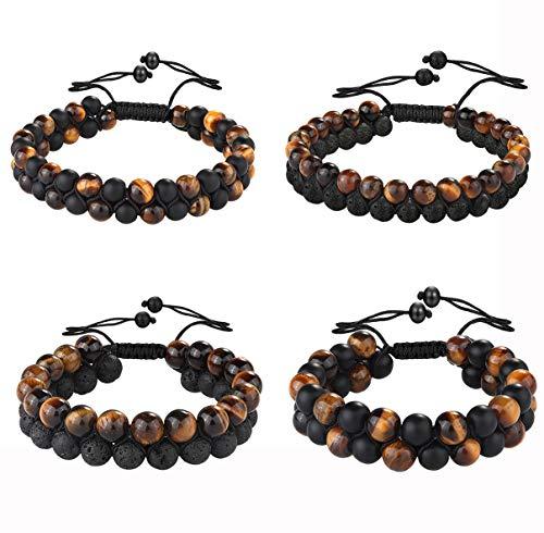 JOERICA 4 Pcs Lava Rock Beaded Bracelet for Men Women Double Layer 7 Chakra Natural Energy Healing Stone Tiger Eye White Turquoise Yoga Beads Bracelets