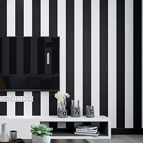Black and White Stripes Wallpaper Non-self-Sticking No.18686