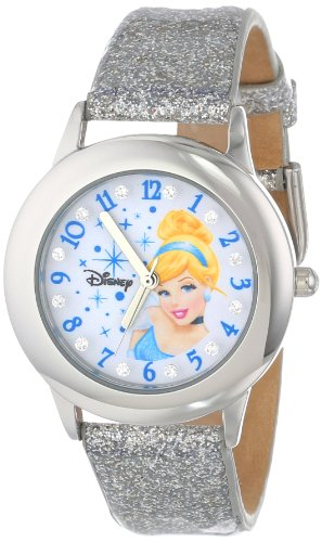 Disney Kids' W000392 Tween Cinderella Glitz Stainless Steel Watch with Silver Glitter Band
