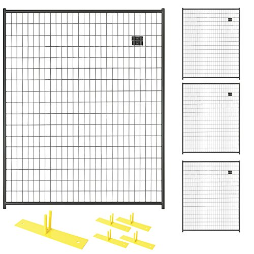 Crowd Control Temporary Fence Panel Kit - Perimeter Patrol Portable Security Fence - Safety Barrier for protecting property, construction sites, outdoor events. 5'W x 6'H BlackChain Link - 4 Panel Kit