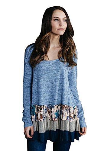 Women's Ruffle Long Sleeve Round Neck Casual Sweatshirts Tunic Tops ()