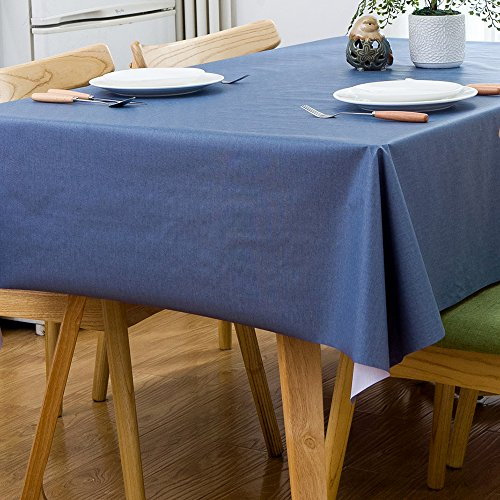 LEEVAN Heavy Weight Vinyl Rectangle Table Cover Wipe Clean PVC Tablecloth, Plastic Square Table Cloth Oil-proof, Waterproof Stain-resistant, Mildew-proof, 54 x 78 Inch (Blue)