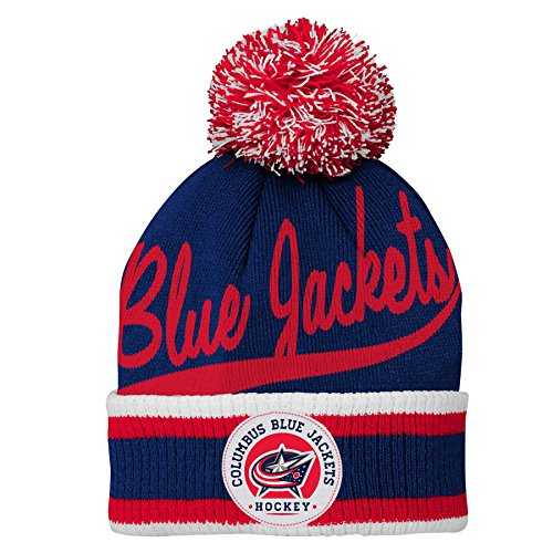 Outerstuff NHL NHL Columbus Blue Jackets Youth Boys Legacy Cuffed Knit Hat with Pom, True Navy, Youth One Size (Legacy Jacket)