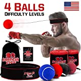 Boxing Reflex Ball Set, Difficulty Level Training Balls On String, Punching Fight React Head Ball with Headband, Speed Hand Eye Reaction and Coordination Boxing Equipment For Kids And Adults