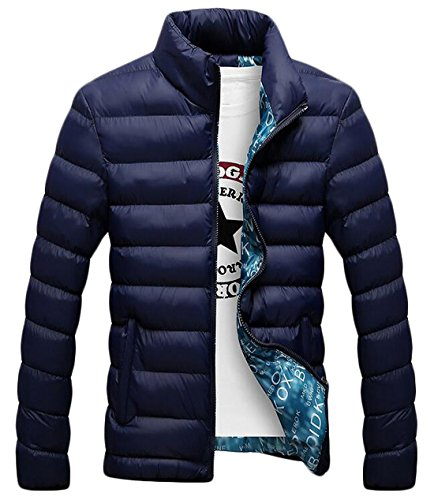 Down US 3XL Stand Coat Quilted Collar EKU Warm Jackets Dark Casual Men's Blue 76qPY