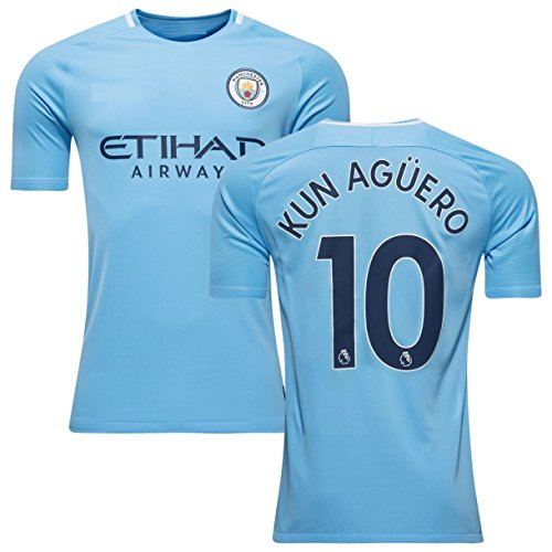The brown squirrel KUN AGUERO # 10 MANCHESTER CITY HOME 17/18 Soccer Jersey Men's Color BLUE Size M