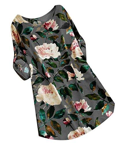 Les Femmes Domple Baggy Partie Col Rond Manches Roll-up T-shirt Imprimé 3xl Gris Tenue Décontractée